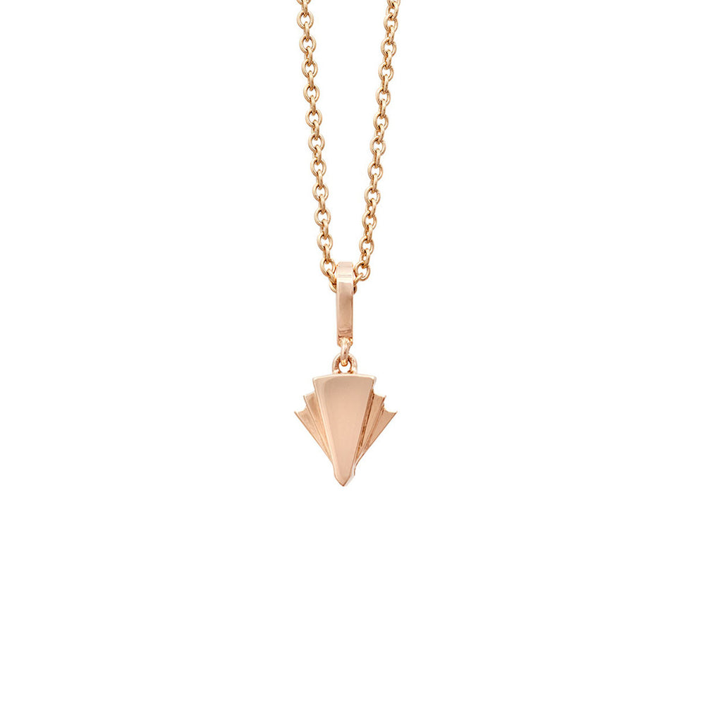 Deco Sans Fan Diamond Pendant in 18k Gold Jewelry - Irthly - 2