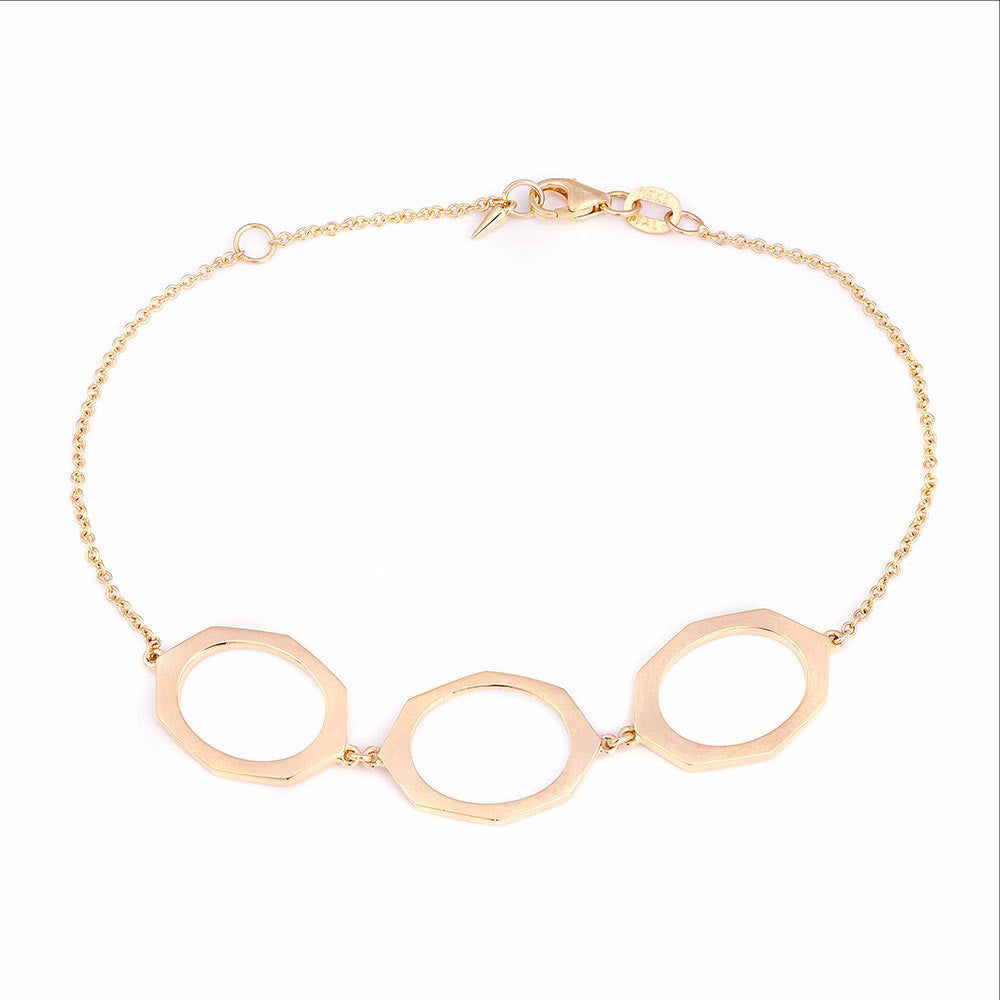 Rose Gold Bracelet With Three Links By Irthly
