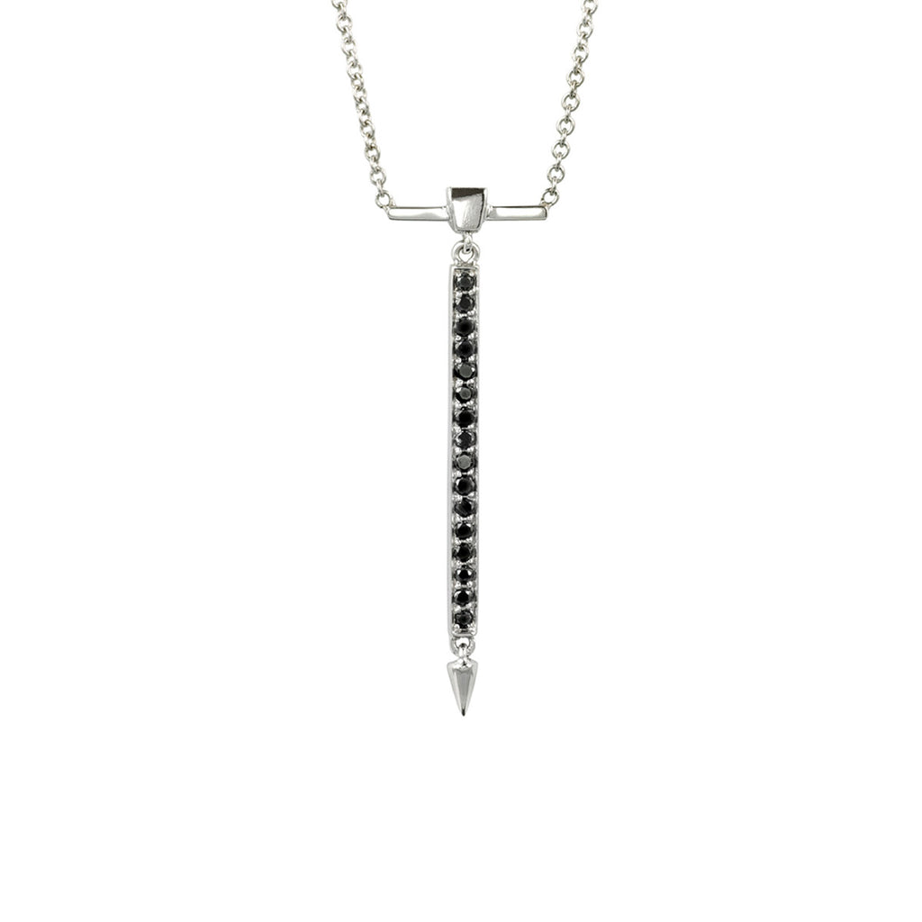 Black Diamond Necklace With Spike in White Gold By Irthly