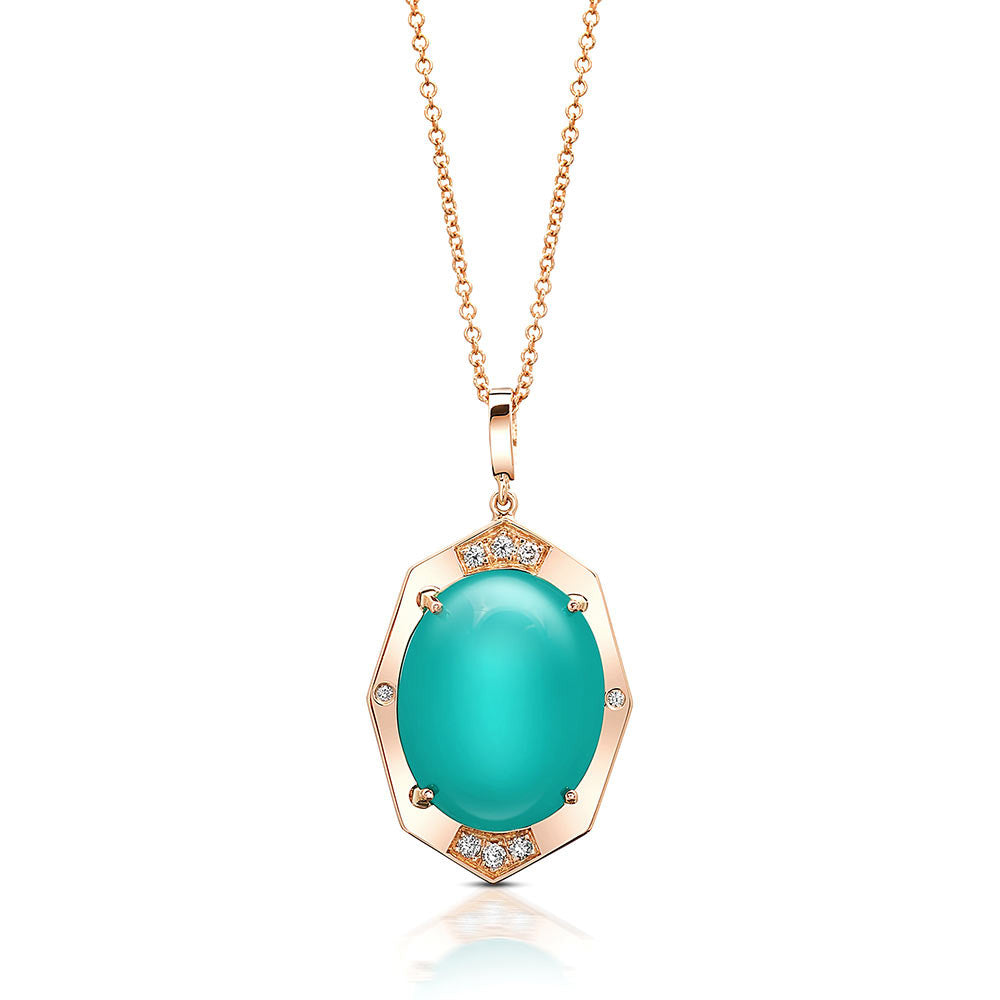 Small Diamond Pendant With Rare Gem Silica Center in Gold Jewelry-Affinity Sans Series