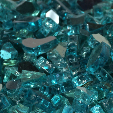 "1/2"" Caribbean Blue Metallic / Azuria Reflective - Fireglass Crystals - Fire On Glass"