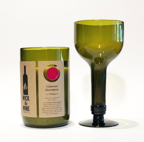 Wine Bottle Candle (Bottle Top Converts To Usable Wine Glass) - Wick & Wine Candle Co.