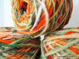 100% Pure Natural Chilean Wool Yarn, Handmade Knitting Hand Dyed Skein Araucania (Orange Green Red) - Imagina Natural