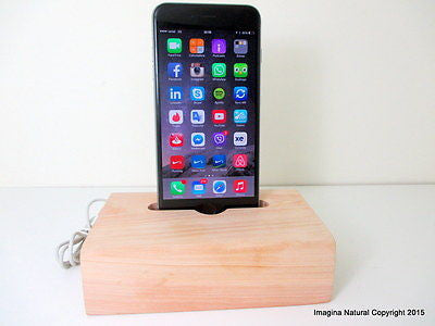 Cypress Wood iPhone 6 Stand, Wooden iPhone 6 Docking Station, Charger, Dock Base - Imagina Natural
