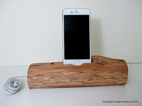 Personalised DriftWood iPhone or Cellphone Stand Wooden iPhone Docking Station Reclaimed Drift Wood iPhone Dock Wooden iPhone Cable holder - Imagina Natural