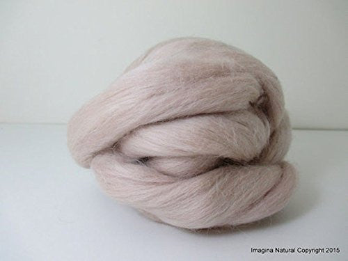 Free Shipping Beige Handmade Merino Roving Wool Hand Spinning Felting Fibre Araucania Craft Art Chilean Knitting Chunky 18 Microns - Imagina Natural