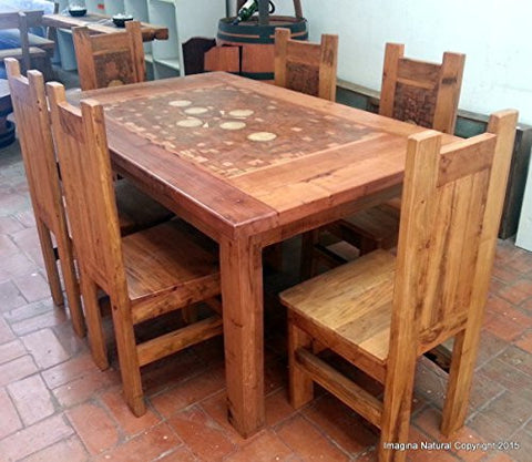 Handmade Mosaic Dining Table With 6 Chairs - Made from reclaimed Wood - Imagina Natural