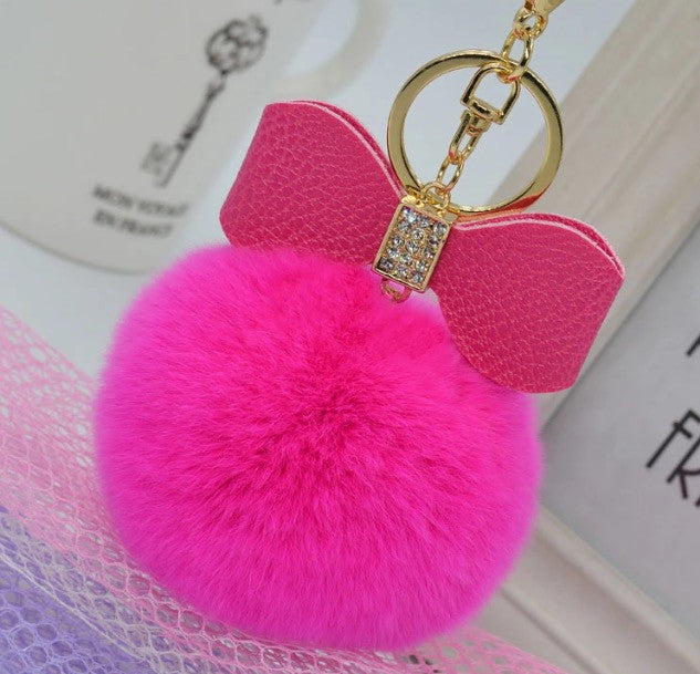 Bagcharm Fur Ball with Bow - Classy Pink Boutique