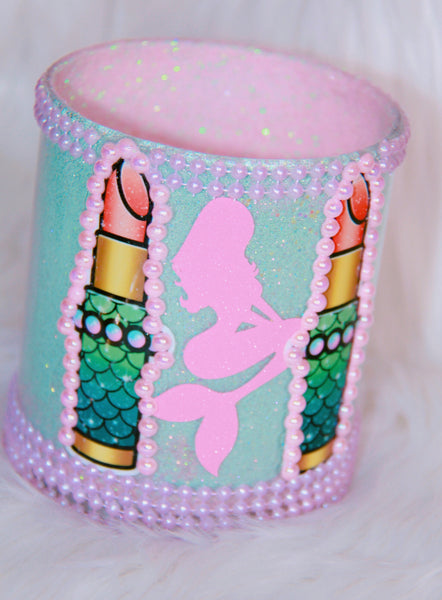 Mermaid Lipsticks teal - pink brush holder - Classy Pink Boutique