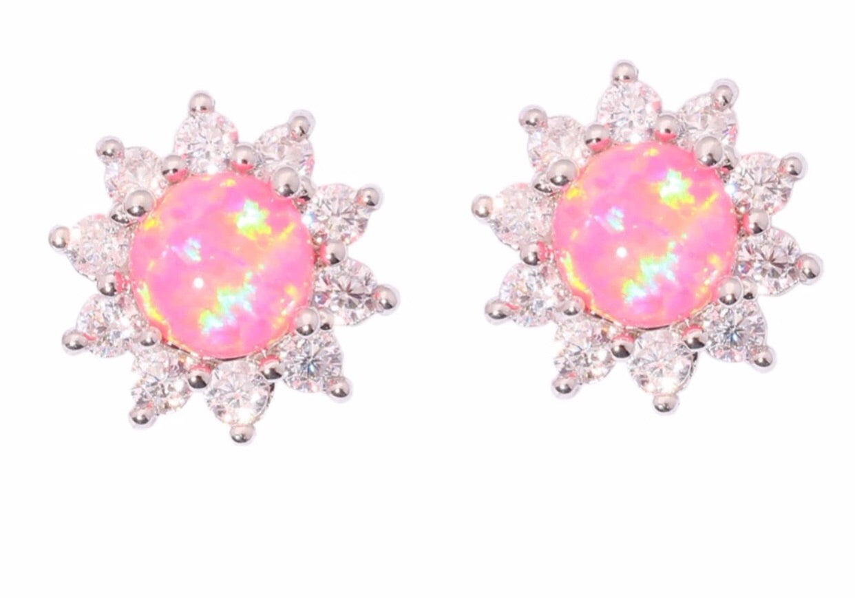 Beautiful holographic crystal stone earrings - Classy Pink Boutique