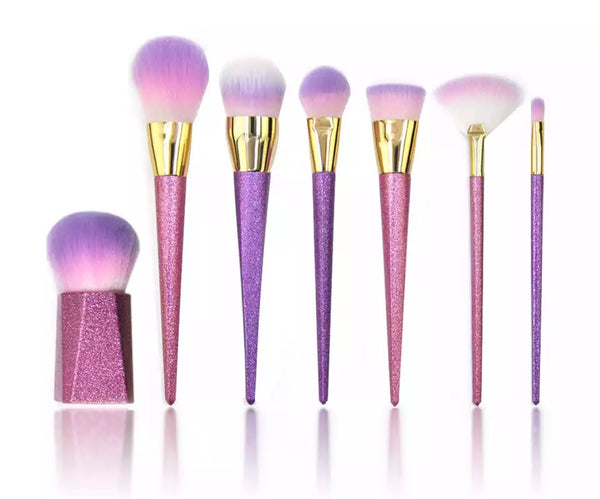 Glitter handles pink - purple brush set - Classy Pink Boutique