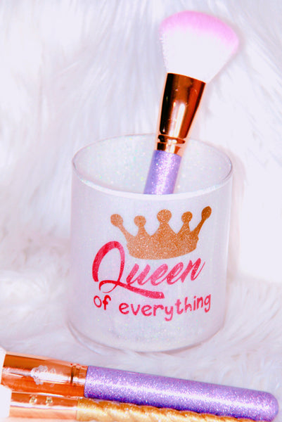 Queen of Everything white glitter brush holder