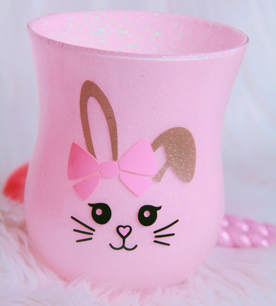 Bunny brush holder with pink glitter - Classy Pink Boutique