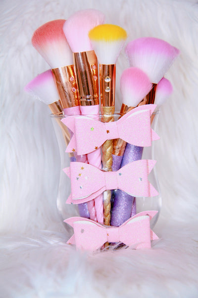 Glitter Bows brush holder - Classy Pink Boutique