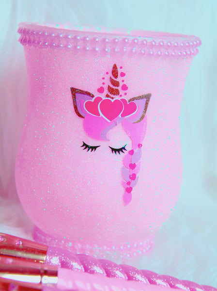 Pink Unicorn Princess brush holder