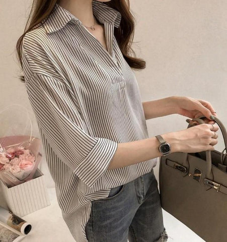 Womens Loose Fit V Neck Blouse
