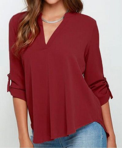 Womens Casual Open Neck Blouse