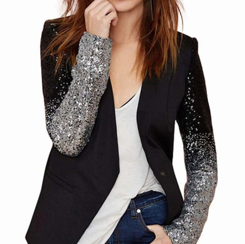 Womens Blazer with Ombre Sequin Sleeves
