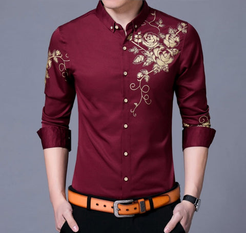 Mens Long Sleeve Floral Shirt - AmtifyDirect
