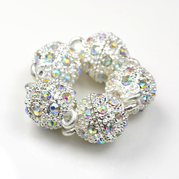 STAR BEADS: 5 x Rhinestone Silver Magnetic Clasps - Round 10mm AB - Jewellery Findings
