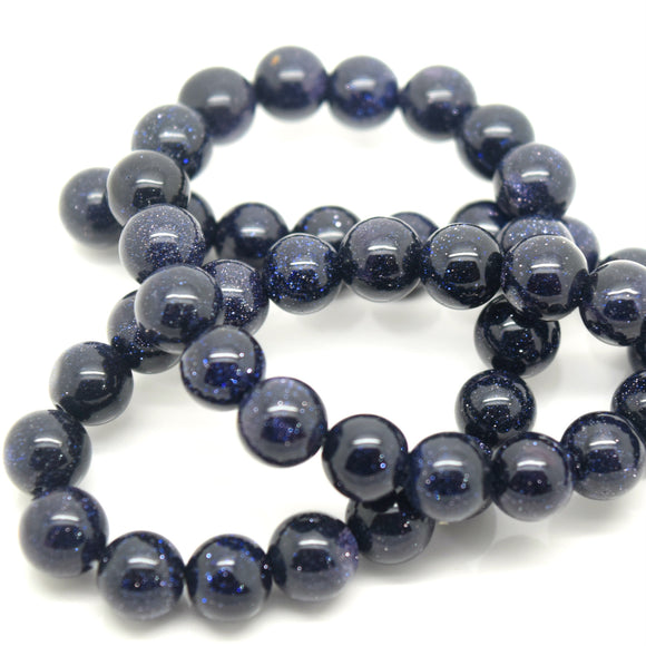 STAR BEADS: 48 x Round 8mm Strand Gemstone Beads - Natural Blue Goldstone - Glass Gemstone Beads