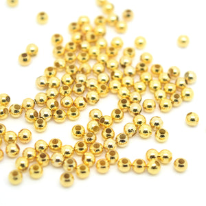 STAR BEADS: GOLD PLATED BRASS SMOOTH ROUND SPACER BEADS  - PICK SIZE - Spacer Beads