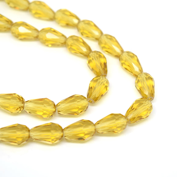 Faceted Teardrop Glass Beads  - Light Topaz