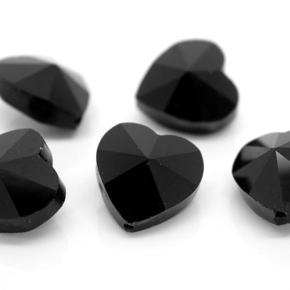 STAR BEADS: 10 x Faceted Glass Heart Beads 14mm - Jet - Heart Beads