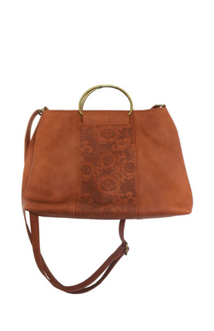 Lola Ring Handle Tote in Cognac