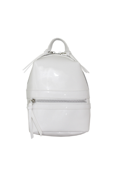 No Apologies Convertible Mini Backpack in Patent White