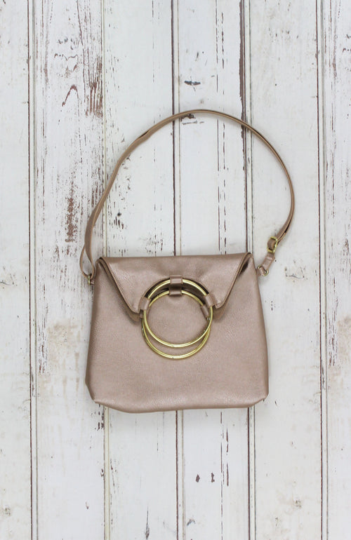 Lexi Ring Fold-over Satchel in Rose Gold