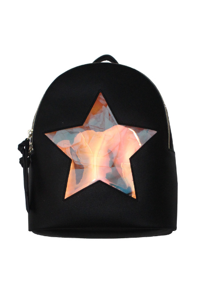 Holographic Star Backpack in Black