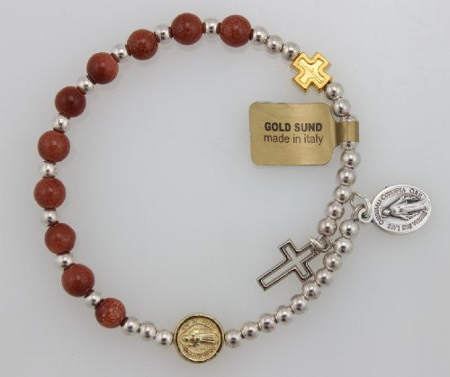 Genuine Gold Sund Bead Wrap Rosary Bracelet with Silver Oxidized Miraculous Medal and Cross (BR565C) - Funzalo Toys