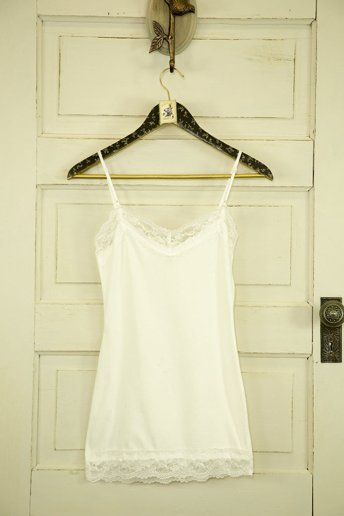Cotton Blend Cami with Lace Trim