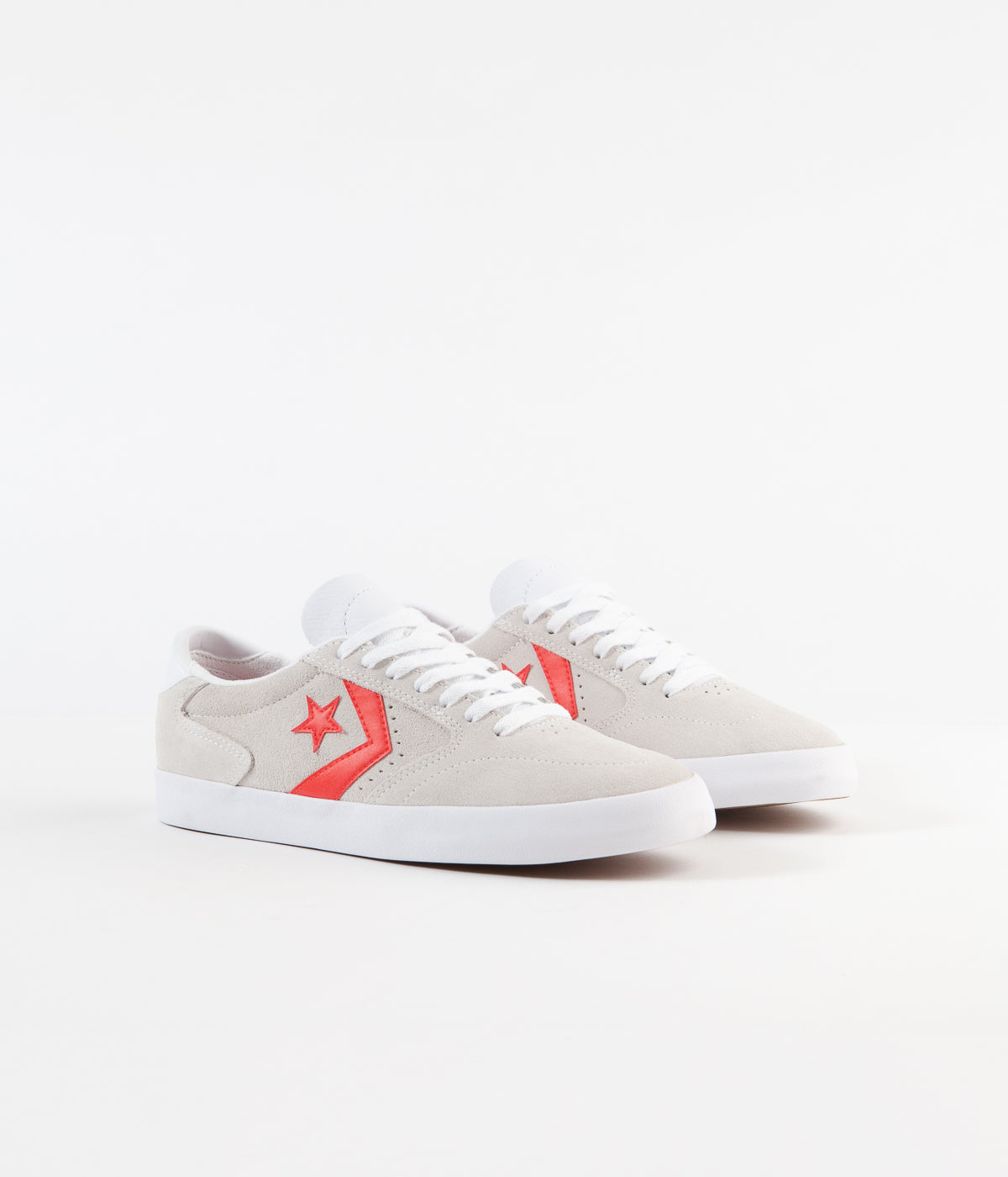 Converse Checkpoint Pro Ox Classic Suede Shoes - White / Habanero Red / White