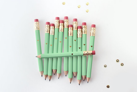 Gold Foil Heart Mint Green Mini Pencils (Set of 12)