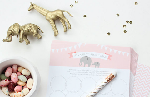 12 Baby Elephant Bingo Cards Shower Game // Champagne Pink