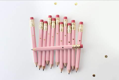 Pink and Gold Foil Mini Pencils (Set of 12)