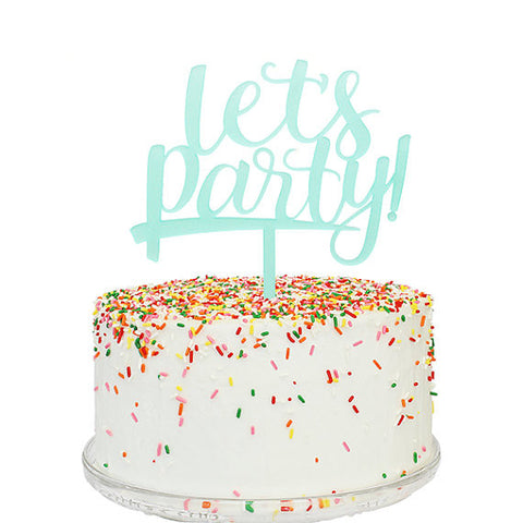 Let's Party Aqua Frost Acrylic Cake Topper
