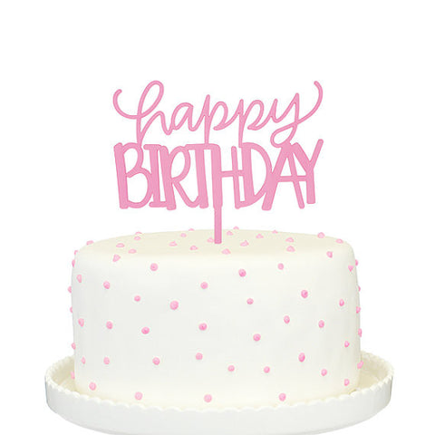 Pink Happy Birthday Cake Topper
