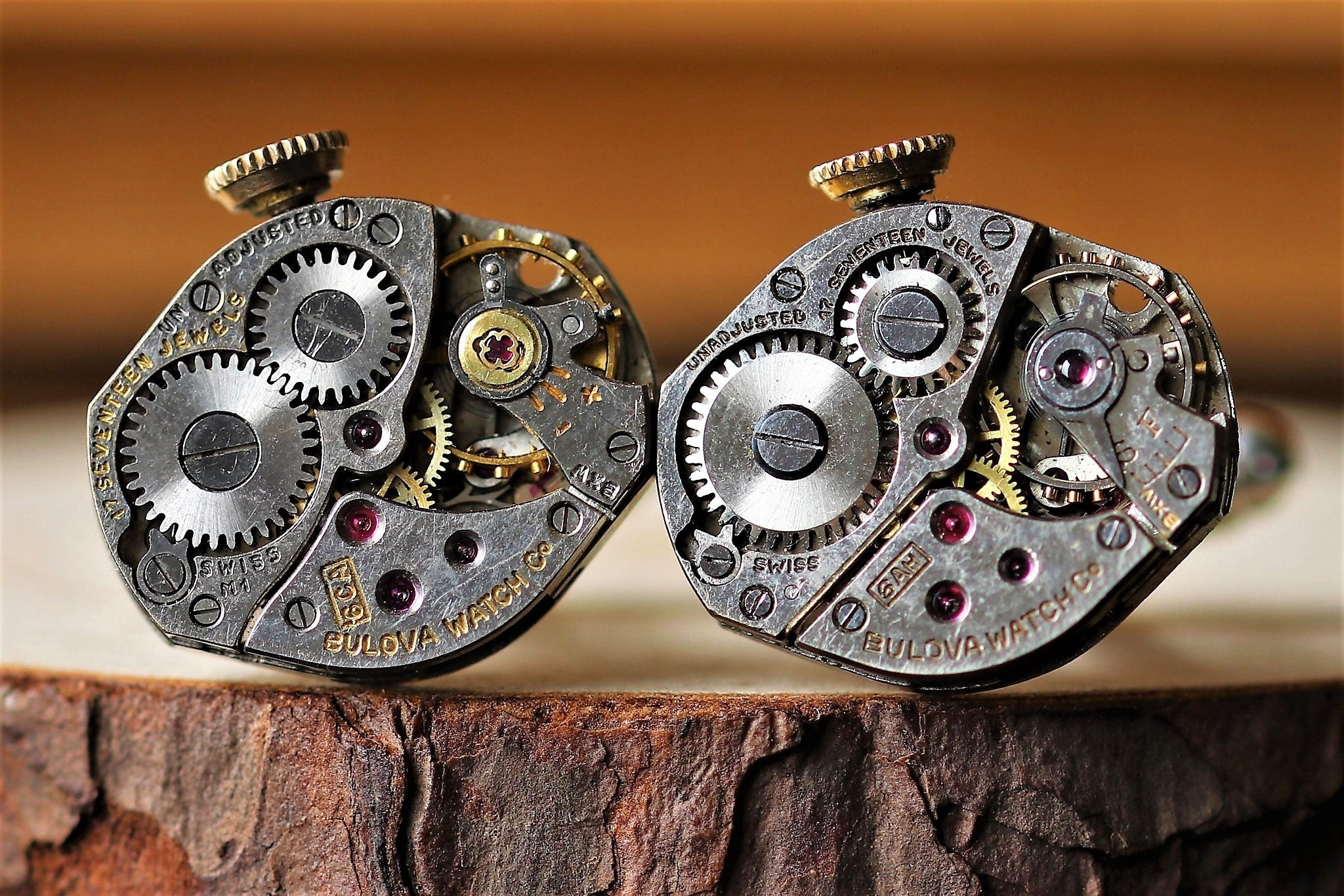 Diamond Shape Watch Movement Cuff Links With Crown - Bulova Movement