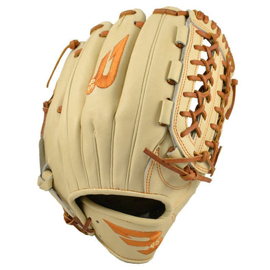 "B45 Baseball Fielding Gloves Right-Hand Throw / Blonde/Tan with Burnt Orange logo Pro Series 12"" Modified Trap Loop Web Baseball Glove"