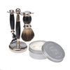 Black 3pc Shaving Set with a Faux Ebony PureBadger Shaving Brush, LEA Classic Shaving Cream in Metallic Tub,