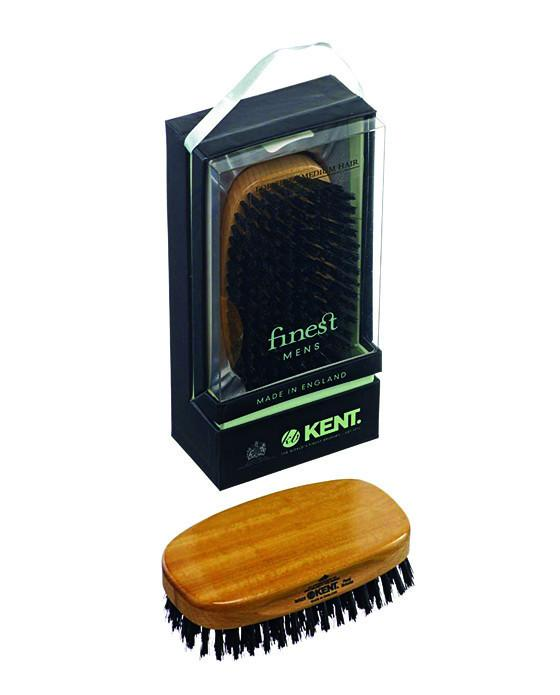 Kent Military Brush, Rectangular, Black Bristles, Satinwood & Beechwood