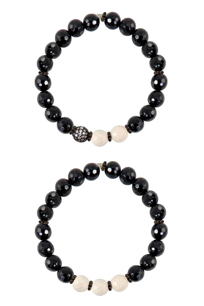 KAT GUNMETAL onyx/riverstone Bracelet by NICOLE LEIGH Jewelry