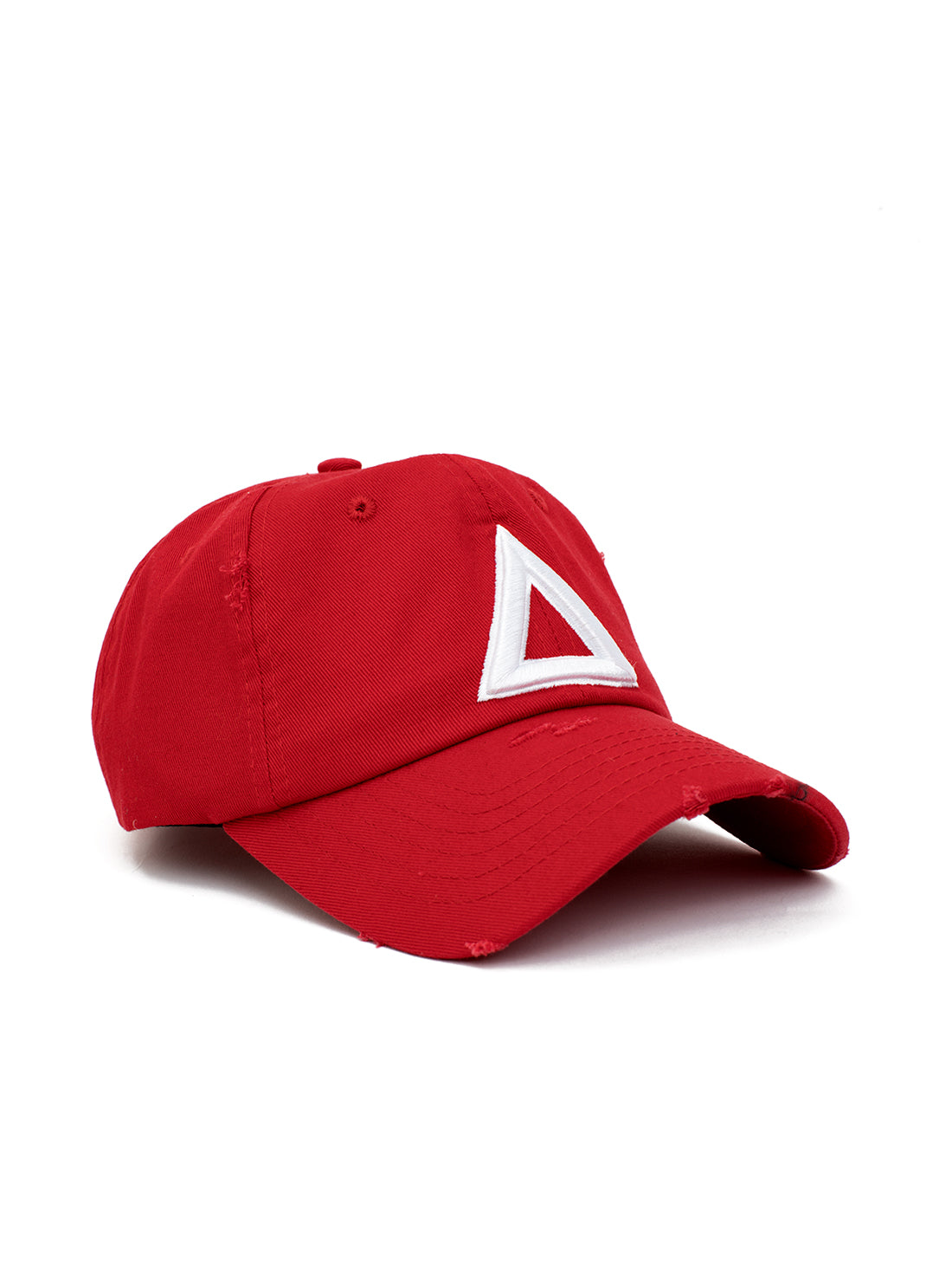 distress dad hat Red - white tri