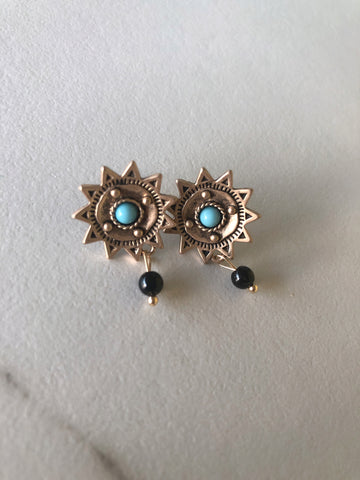 Onyx Sun Earrings