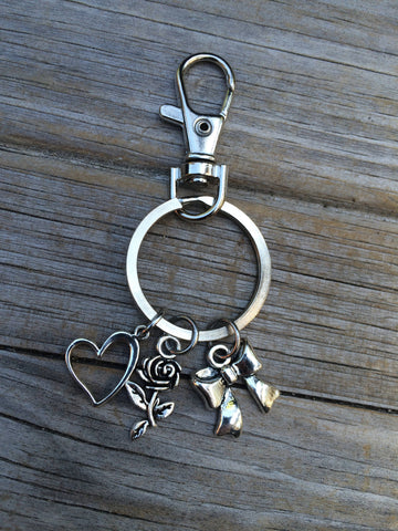 Heart Rose and Bow Charm Keychain