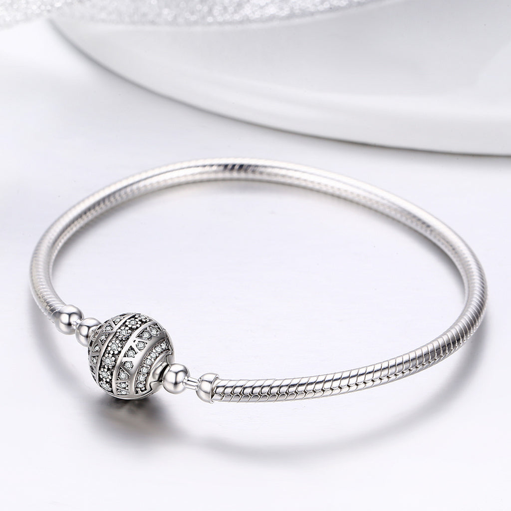 Authentic 100% 925 Sterling Silver Dazzling Clear CZ Round Clasp Snake Chain Bracelet Sterling Silver Jewelry SCB062