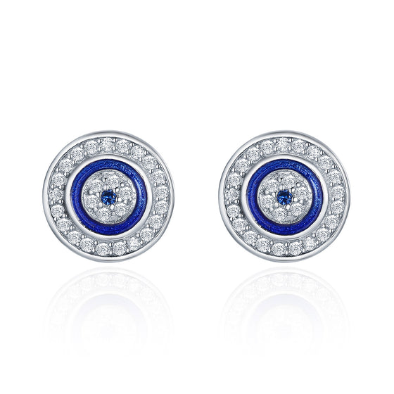 Authentic 925 Sterling Silver Blue Eye Round Stud Earrings for Women Fashion Sterling Silver Jewelry SCE148